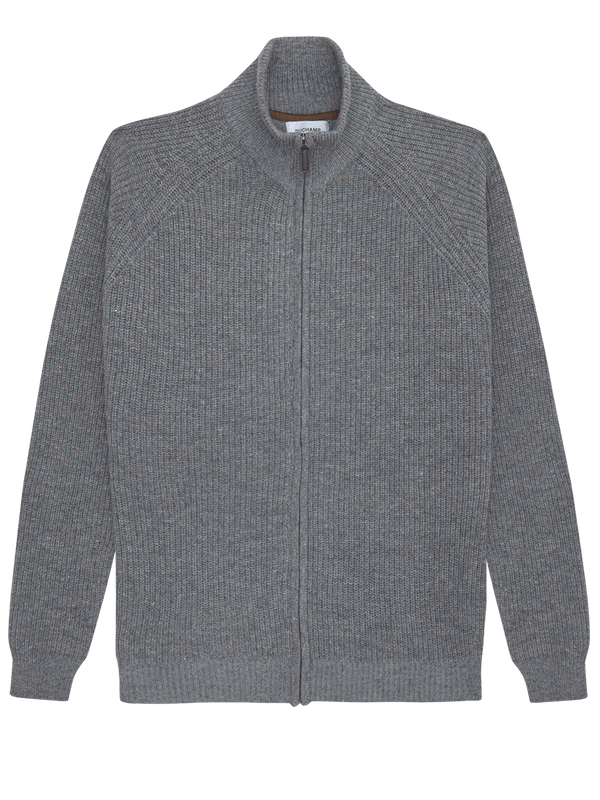 Lambswool Zip-Up Jumper Grey