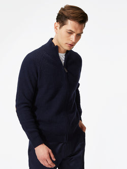 Lambswool Zip-Up Jumper Navy