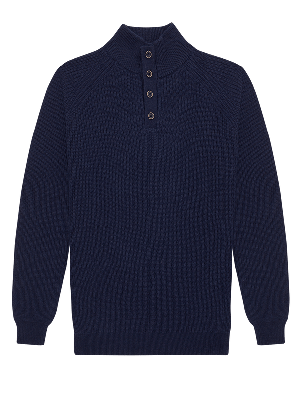 Lambswool Mock Neck Jumper Navy