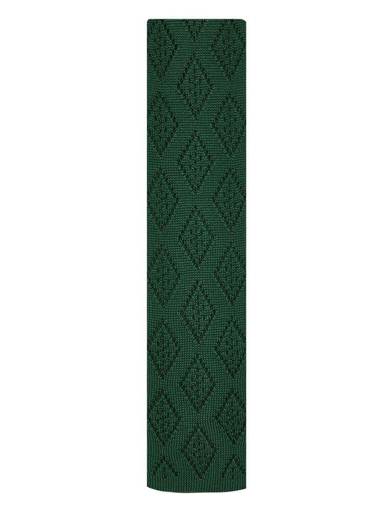Diamond Plain Knitted Tie Green