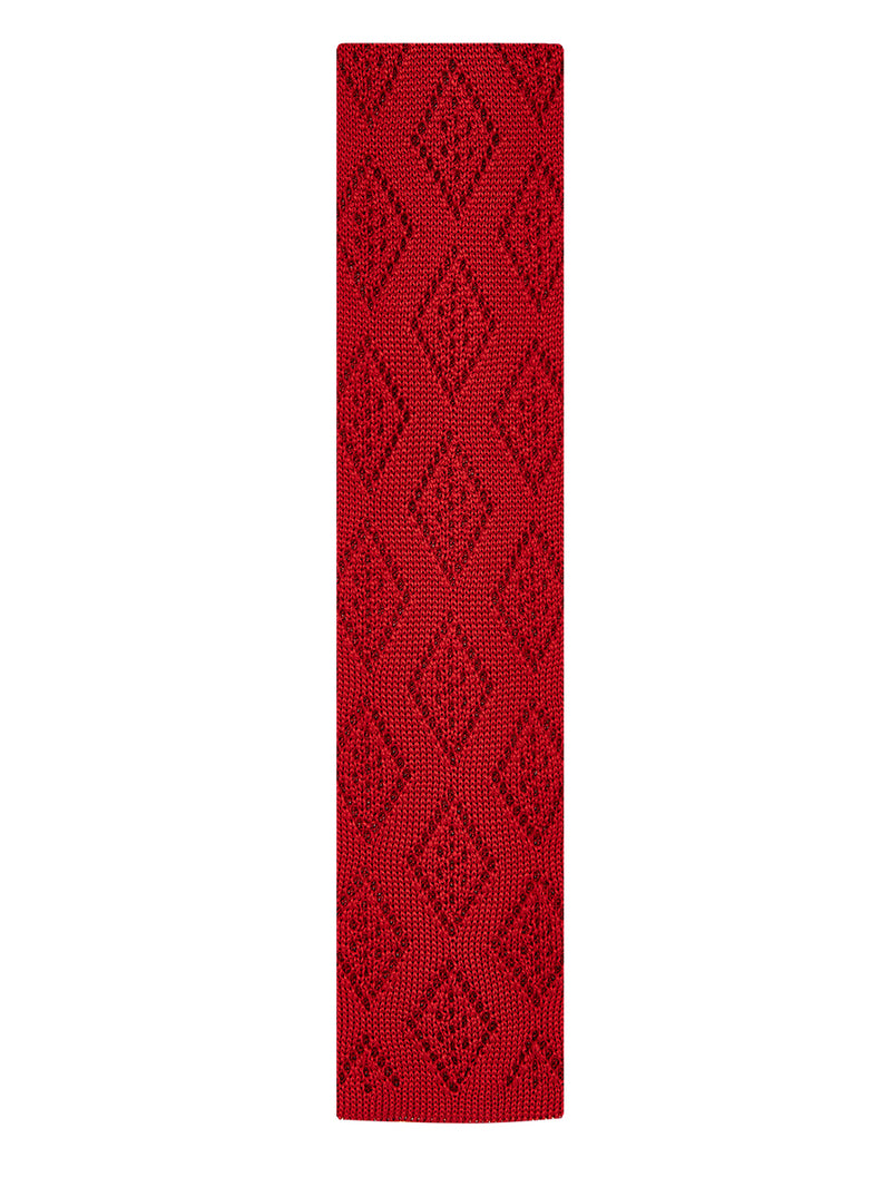 Diamond Plain Knitted Tie Red