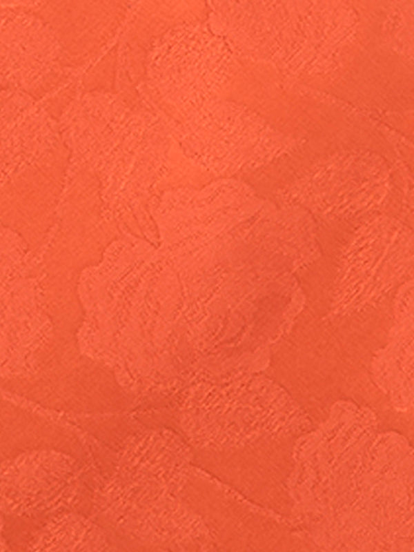 Large Rose Plain Pocket Square Orange