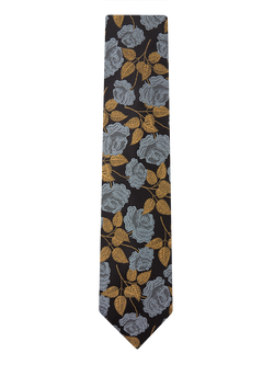 Large Rose Floral Tie Black