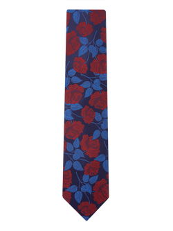 Large Rose Floral Tie Navy