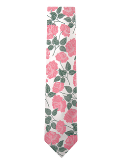 Large Rose Floral Tie White