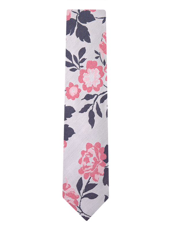 Carnation Floral Tie White