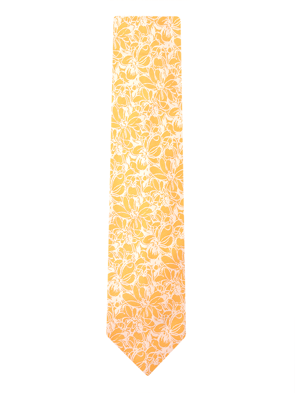 Sketch Floral Tie Yellow