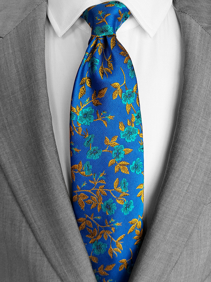 Rose Garden Floral Tie Turquoise