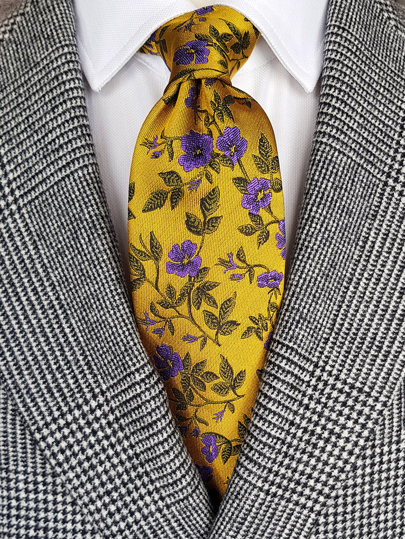 Rose Garden Floral Tie Yellow