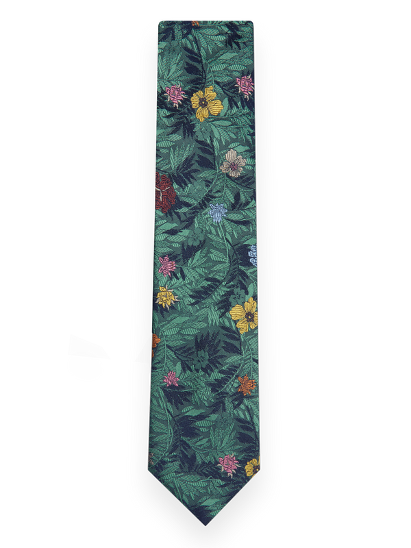 Jungle Flower Tie Green
