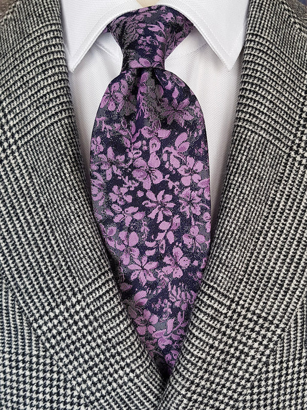 Two Colour Floral Tie Navy