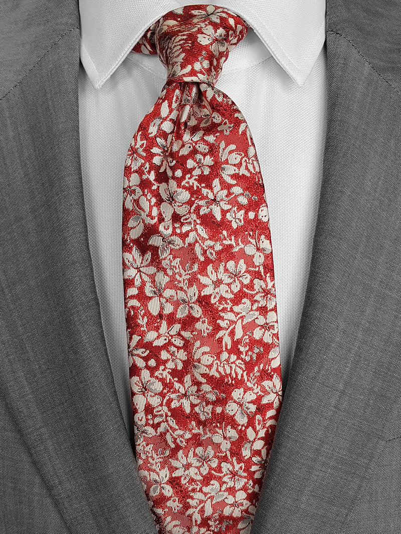 Two Colour Floral Tie Red