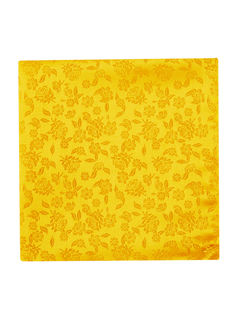 Plain Mini Floral Pocket Square Yellow