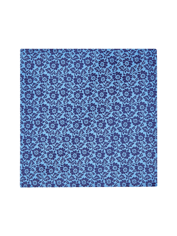Pansy Two Colour Pocket Square Blue