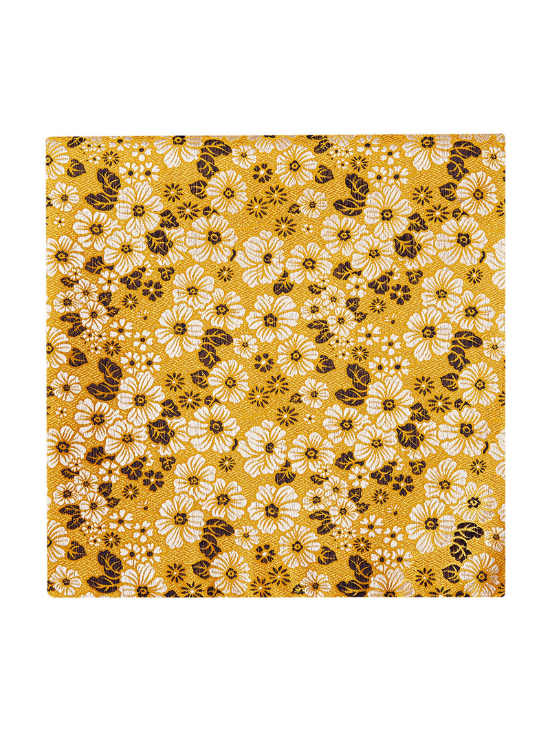 Artsy Floral Pocket Square Yellow