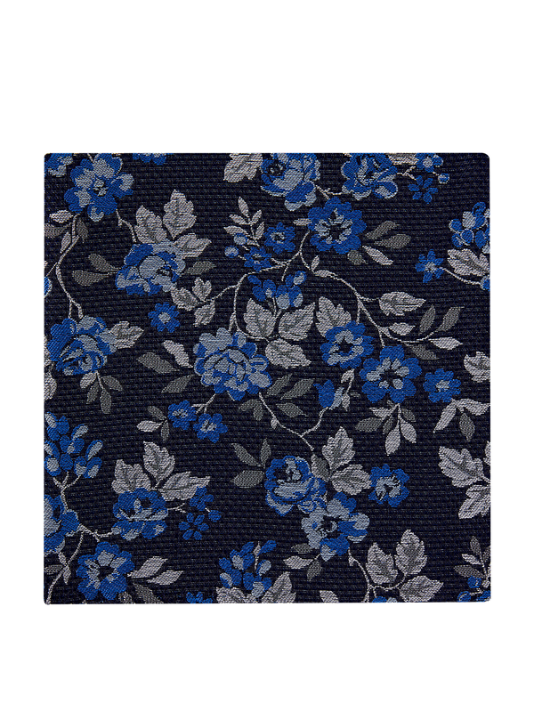 Allium Floral Pocket Square Blue.