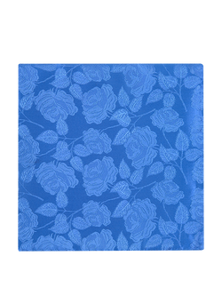 Large Rose Plain Pocket Square Blue