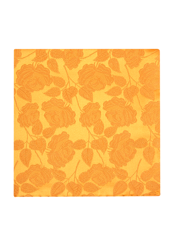 Large Rose Plain Pocket Square Yellow