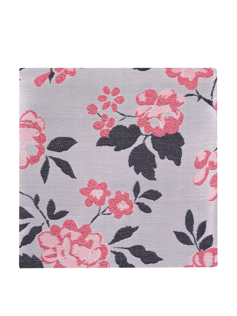 Carnation Floral Pocket Square White