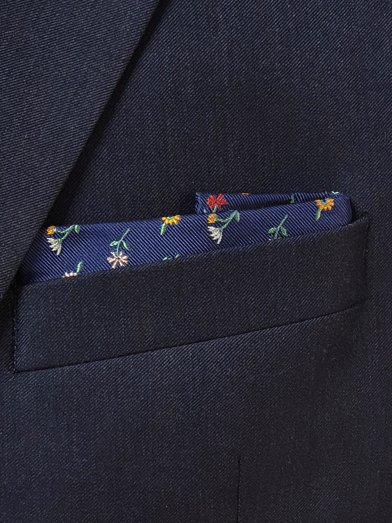 Blooming Flowers Pocket Square Navy