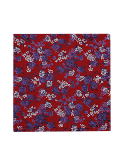 Flash Floral Pocket Square Red