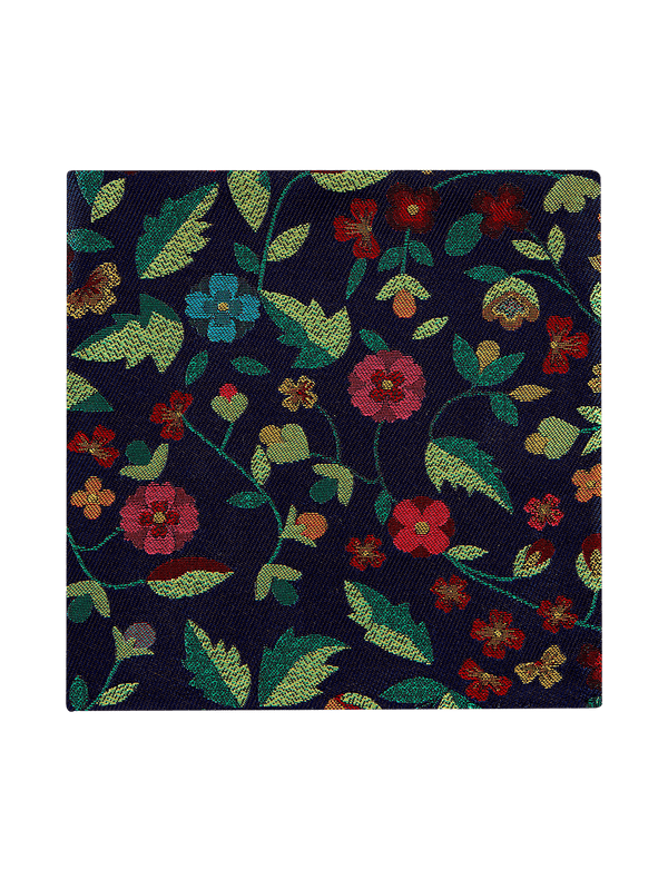 Forest Blossom Pocket Square Navy