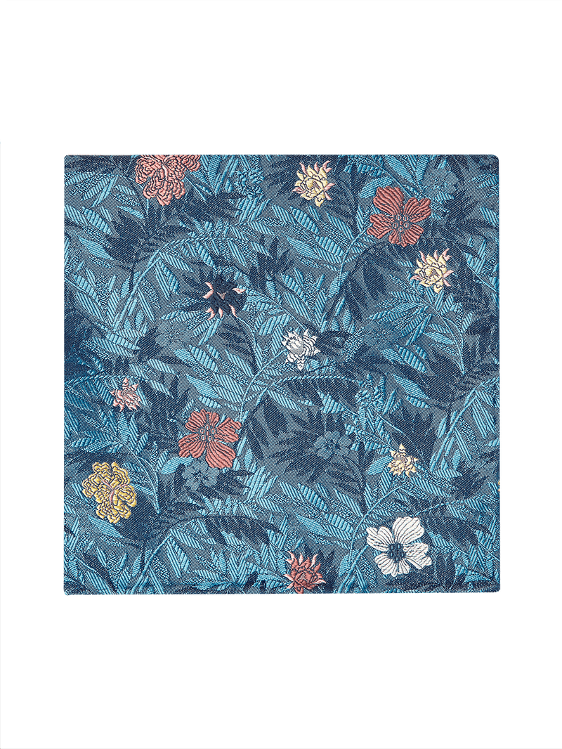 Jungle Flower Pocket Square Blue