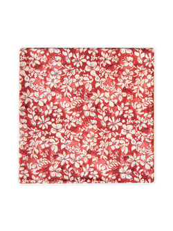 Two Colour Floral Pocket Square Red