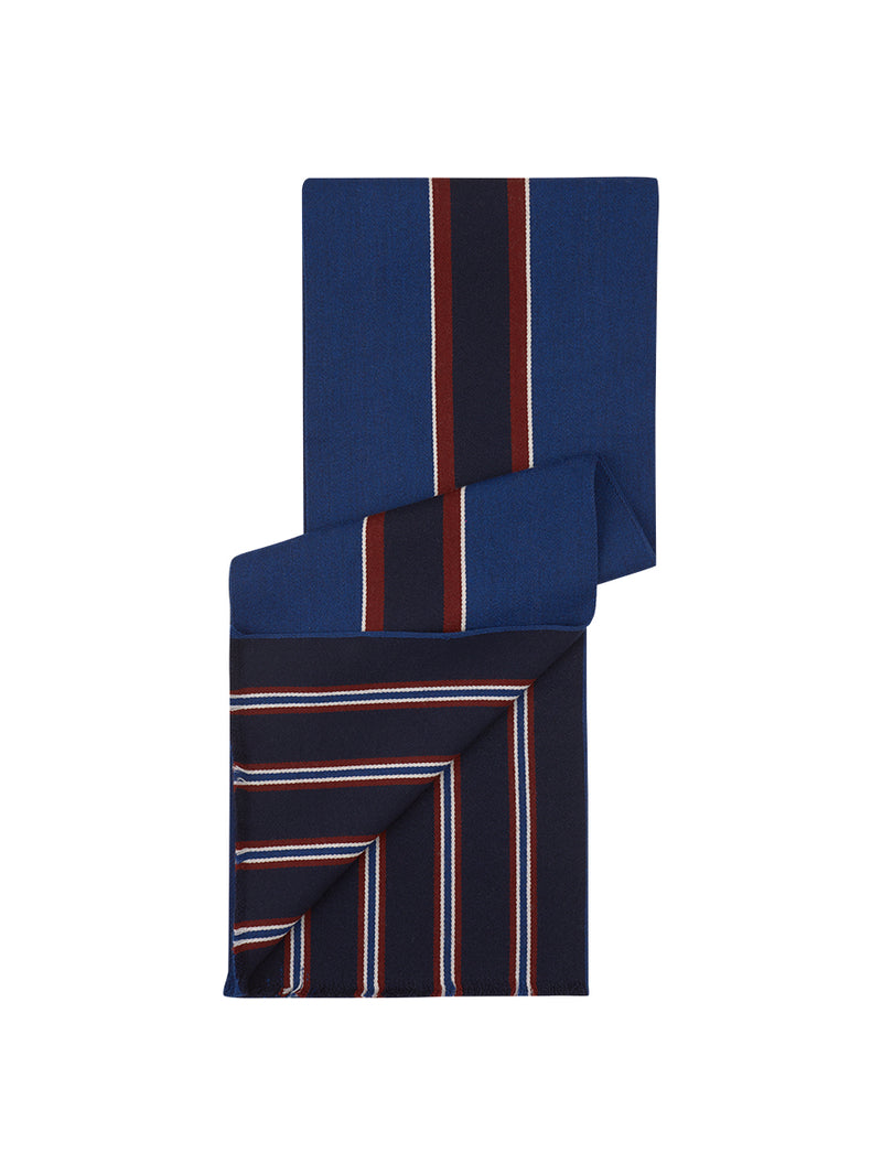 Reversible Stripe Scarf Navy