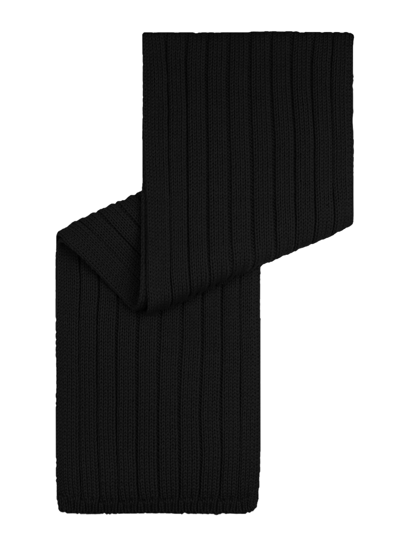 Merino Wool Ribbed Scarf Black
