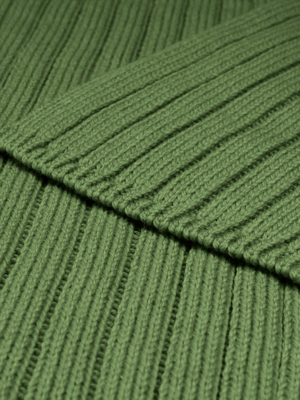 Merino Wool Ribbed Scarf Green
