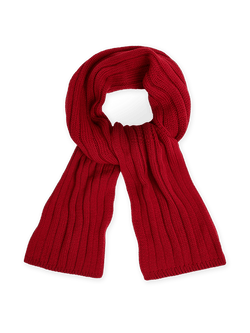 Merino Wool Cable Knit Scarf Red
