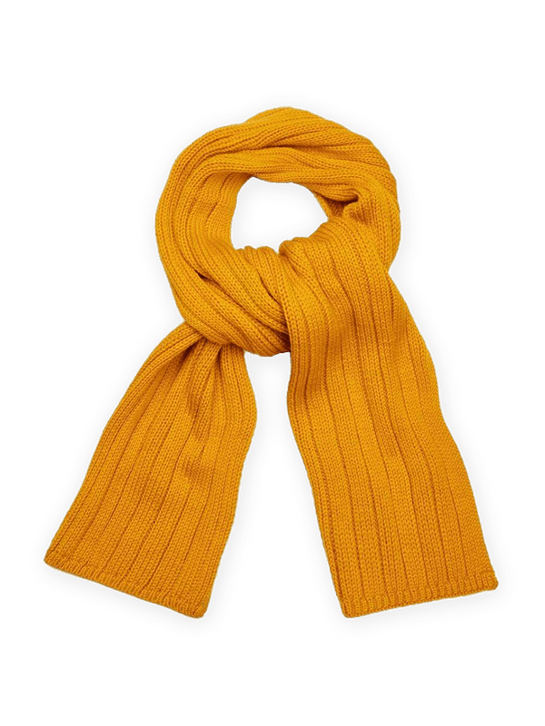 Merino Wool Ribbed Scarf Yellow