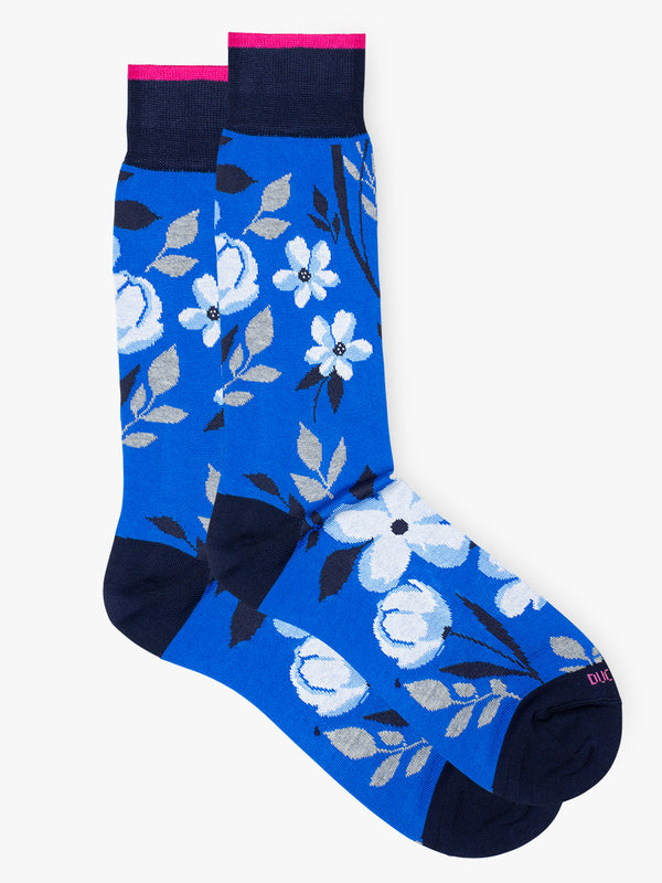 Boris-Floral-Sock-Blue