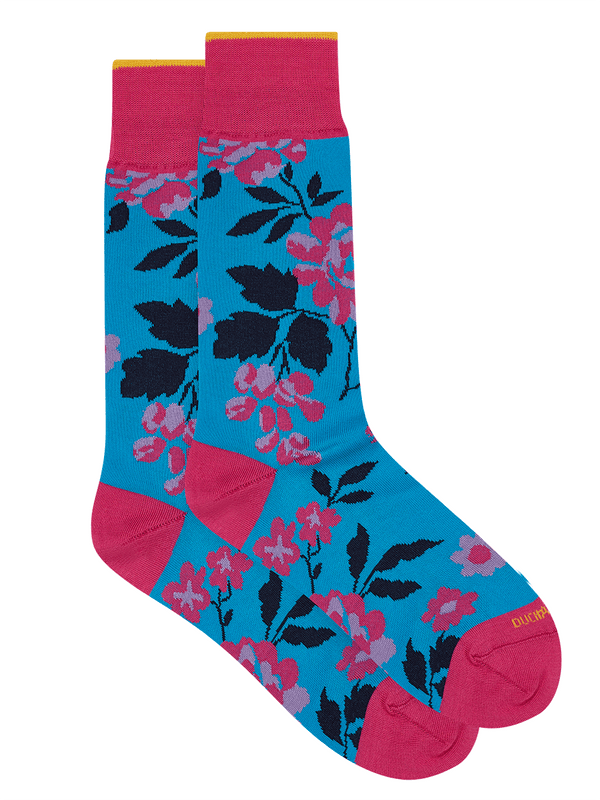 Carnation Floral Sock  Blue