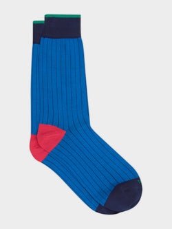 Bold Plain Sock Blue