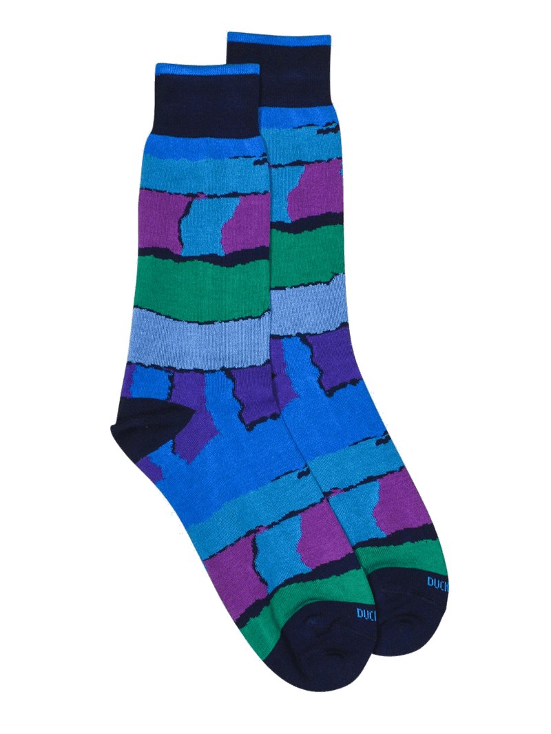 Abstract Stripe Sock Purple