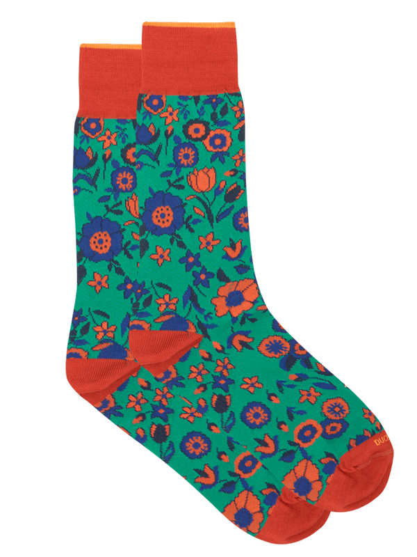 Pollie Floral Sock Green