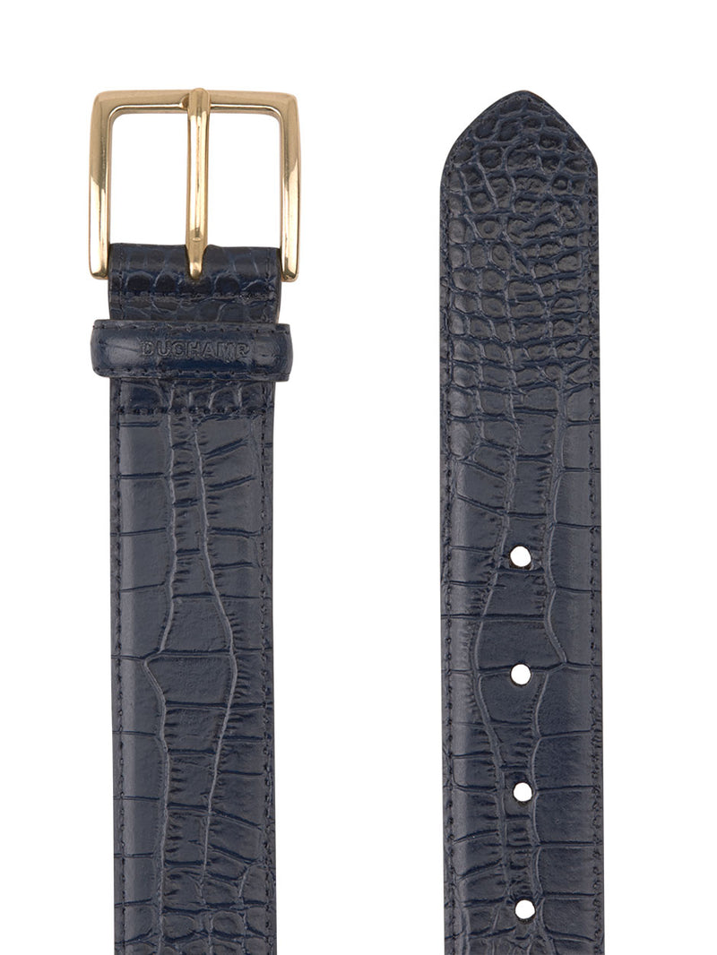 Crocodile Emboss Belt Navy