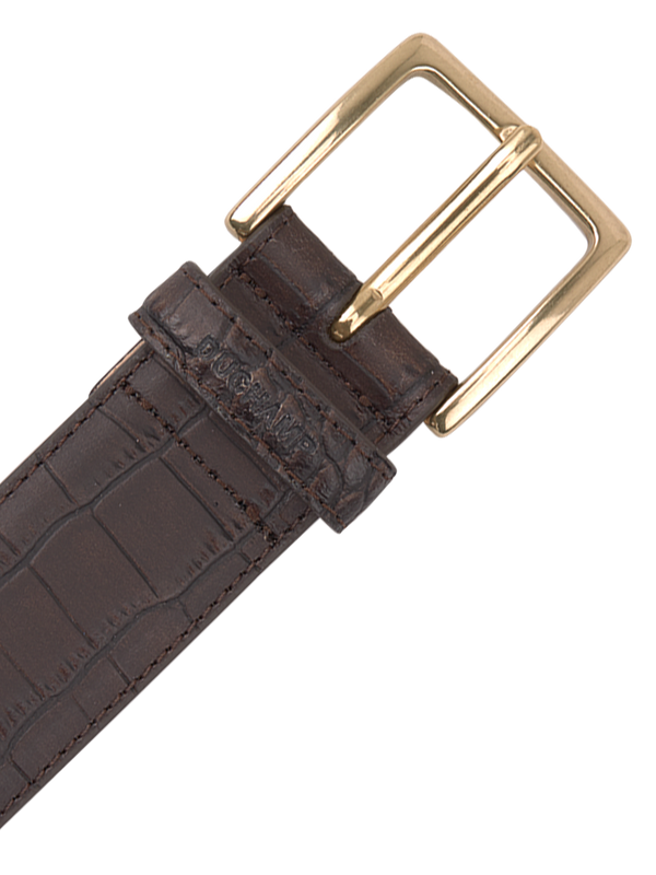 Crocodile Emboss Belt Brown