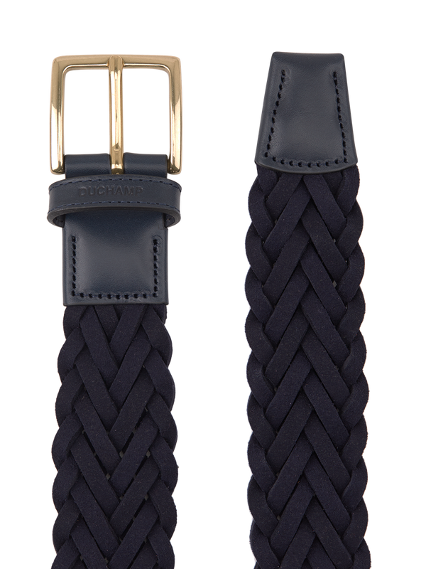 Platted Suede Belt Navy