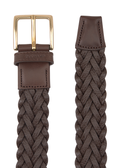 Platted Leather Belt Brown