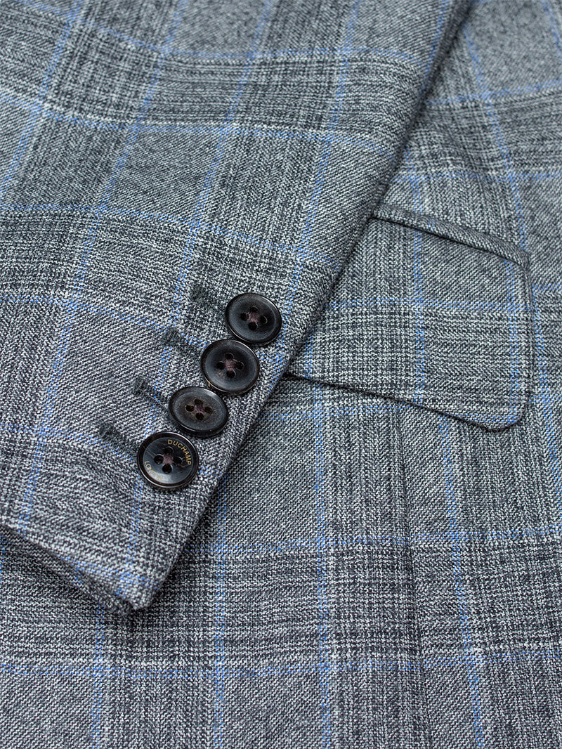 Peak Feather Check Suit Grey