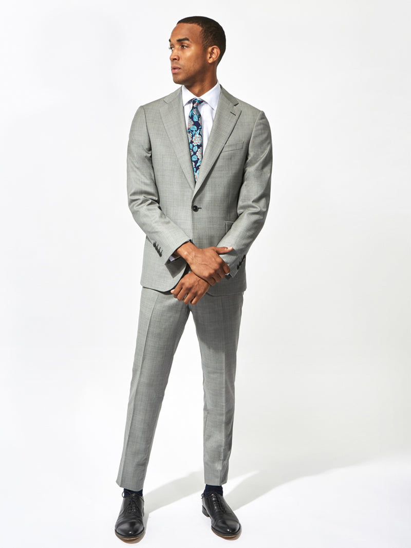 Notch Lapel Sharkskin Wool Suit Grey