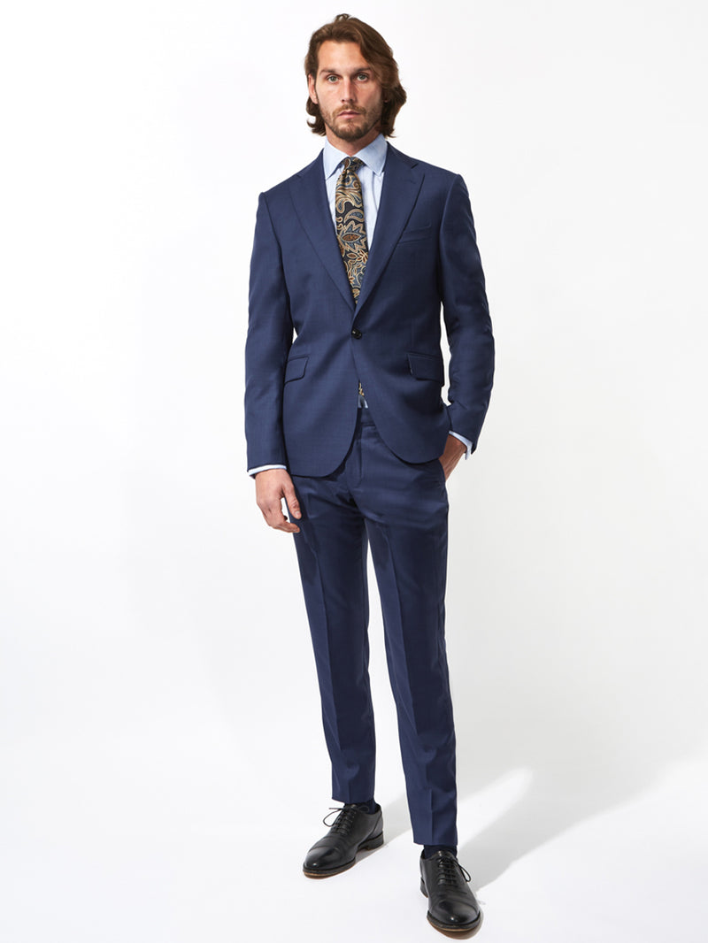Notch Lapel Sharkskin Wool Suit Navy