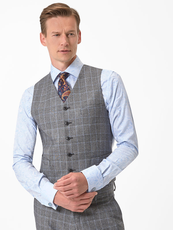 Feather-Check-Waistcoat-Grey
