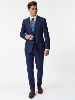 Notch Plain Flannel Wool Suit Blue