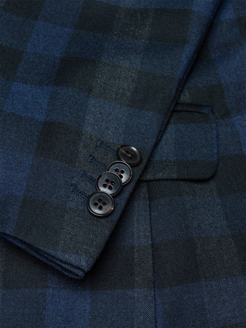 Notch Macro Over Check Suit Navy