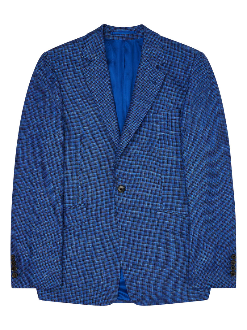 Notch Lapel Crest Check Jacket Blue