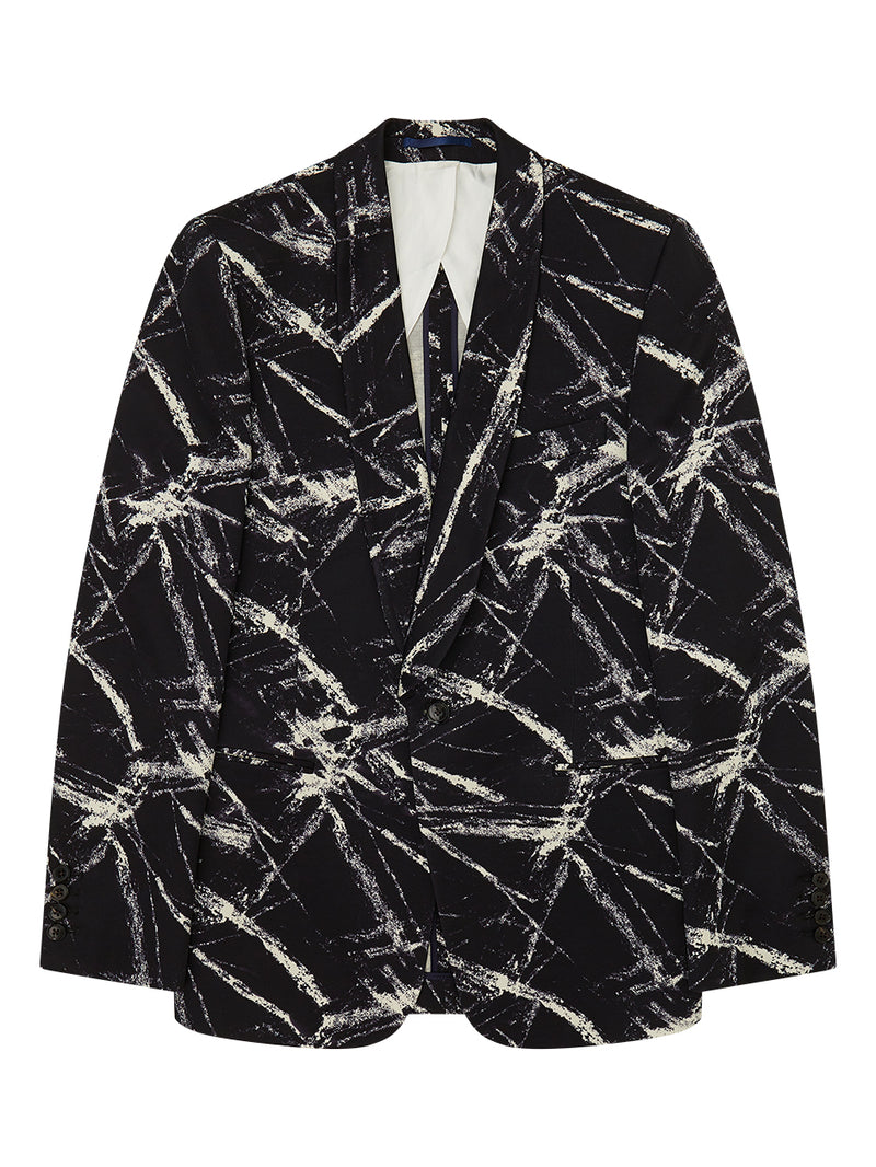 Shawl Collar Chalk Print Silk Jacket Black
